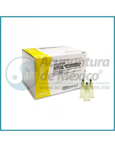 AGUJA HIPODERMICA 30G X 4 MM. C/100 PIEZAS