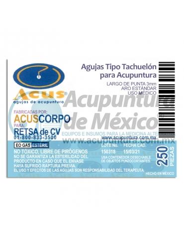 TACHUELA CORPORAL ACUS 0.20 x 3 MM. C/250 PZS.