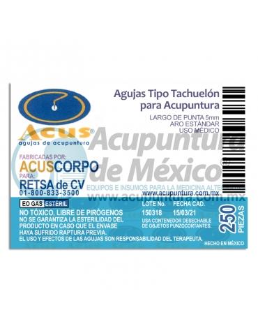 TACHUELA CORPORAL ACUS 0.20 x 5 MM. C/250 PZS.