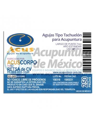 TACHUELA CORPORAL ACUS 0.20 x 7 MM. C/250 PZS.