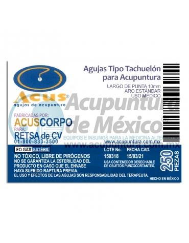TACHUELA CORPORAL ACUS 0.20 x 10 MM. C/250 PZS.