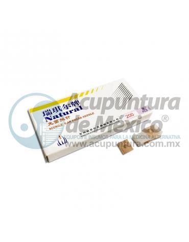 TACHUELA AURICULAR NATURAL 0.20 x 1.5 MM. C/200 PZS. PARCHE CARNE
