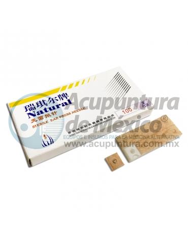 TACHUELA AURICULAR NATURAL 0.20 x 1.5 MM. C/100 PZS. PARCHE CARNE
