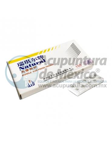 TACHUELA AURICULAR NATURAL 0.20 x 1.5 MM. C/100 PZS. PARCHE TRANSPARENTE