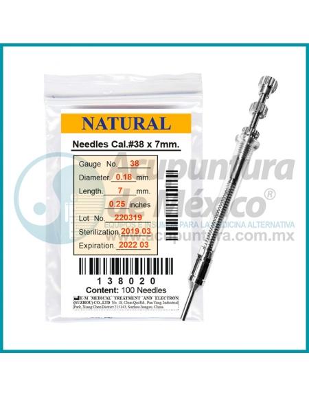 AGUJAS NATURAL 0.18 X 7 MM. C/100 PIEZAS